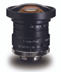 "Navitar NMV-6M1 1"" 6mm F1.8 Manual Iris C-Mount Lens, 2 Megapixel Rated"