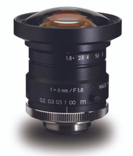 "Navitar NMV-6M1 1"" 6mm F1.8 Manual Iris C-Mount Lens, 2 Megapixel Rated"