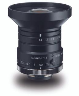 "Navitar NMV-8M1 1"" 8mm F1.4 Manual Iris C-Mount Lens, 2 Megapixel Rated"