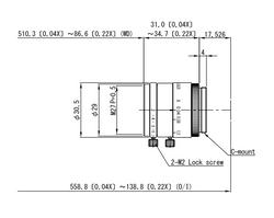 "VS Technology VS-LDA20 2/3"" 20mm F2.0 Manual Iris & Focus Distortionless Macro C-Mount Lens, 3 Megapixel Rated"