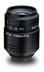 "Kowa LM8JC1MS 2/3"" 8.0mm F1.4 Manual Iris C-Mount Lens w/ Locking Screws and Marking Settings for Iris and Focus"