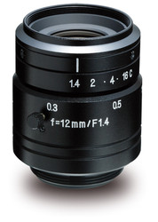 "Kowa LM12JC1MS 2/3"" 12.0mm F1.4 Manual Iris C-Mount Lens w/ Locking Screws and Marking Settings for Iris and Focus"