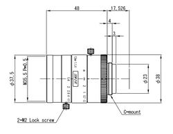 "VS Technology VS-1214H1-SWIR 1"" 12mm F1.4 Manual Iris C-Mount Lens, 5 Megapixel Rated, SWIR Type (700-2000nm)"