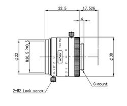 "VS Technology VS-2514H1-SWIR 1"" 25mm F1.4 Manual Iris C-Mount Lens, 5 Megapixel Rated, SWIR Type (700-2000nm)"