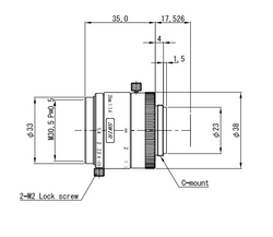 "VS Technology VS-3514H1-SWIR 1"" 35mm F1.4 Manual Iris C-Mount Lens, 5 Megapixel Rated, SWIR Type (700-2000nm)"