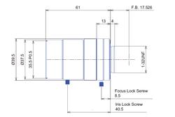 "Goyo Optical GMXHR31614MCN-1 Goyo Optical 2/3"" 16mm F1.4 Manual Iris C-Mount Lens, M35.5 x P0.5 Filter Thread, 3 Megapixel Rated"