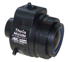 "Theia Technologies ML610M 2/3"" 6-10mm F1.7 Manual Iris Vari-Focal C-Mount Lens, IR Corrected (Day/Night), 4K Ultra HD, 12 Megapixel Rated"