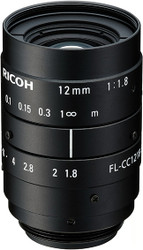 "Ricoh FL-CC1218-5MX 2/3"" 12mm F1.8 Manual Iris C-Mount Lens, 5 Megapixel Rated"
