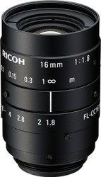 "Ricoh FL-CC1618-5MX 2/3"" 16mm F1.8 Manual Iris C-Mount Lens, 5 Megapixel Rated"