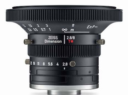"Zeiss Dimension 2.8/8 4/3"" 8mm F2.8 Manual Focus & Iris C-Mount Lens, Compact and Ruggedized Design, Visible and Near IR Optimized"