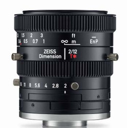 "Zeiss Dimension 2/12 4/3"" 12mm F2.0 Manual Focus & Iris C-Mount Lens, Compact and Ruggedized Design, Visible and Near IR Optimized"