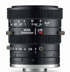 "Zeiss Dimension 2/18 4/3"" 18mm F2.0 Manual Focus & Iris C-Mount Lens, Compact and Ruggedized Design, Visible and Near IR Optimized"