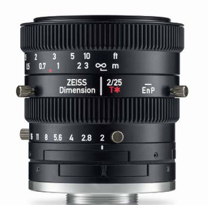 "Zeiss Dimension 2/25 4/3"" 25mm F2.0 Manual Focus & Iris C-Mount Lens, Compact and Ruggedized Design, Visible and Near IR Optimized"