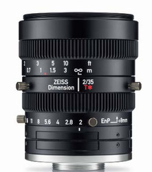"Zeiss Dimension 2/35 4/3"" 35mm F2.0 Manual Focus & Iris C-Mount Lens, Compact and Ruggedized Design, Visible and Near IR Optimized"