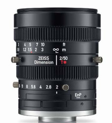 "Zeiss 4/3"" 50mm F2.0 Manual Focus & Iris C-Mount Lens, Compact and Ruggedized Design, Visible and Near IR Optimized"