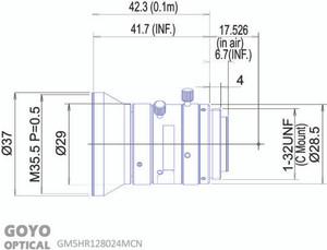 "Goyo Optical GM5HR128024MCN 1/1.2"" 8mm F2.4 Manual Iris C-Mount Lens, 5 Megapixel Rated (GOY GM5HR128024MCN)"