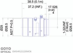 "Goyo Optical GM5HR121220MCN 1/1.2"" 12mm F2.0 Manual Iris C-Mount Lens, 5 Megapixel Rated"