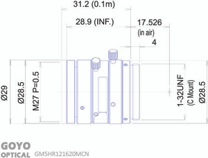 "Goyo Optical GM5HR121620MCN 1/1.2"" 16mm F2.0 Manual Iris C-Mount Lens, 5 Megapixel Rated"