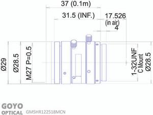 "Goyo Optical GM5HR122518MCN 1/1.2"" 25mm F1.8 Manual Iris C-Mount Lens, 5 Megapixel Rated"