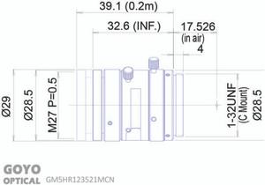"Goyo Optical GM5HR123521MCN 1/1.2"" 35mm F2.1 Manual Iris C-Mount Lens, 5 Megapixel Rated"