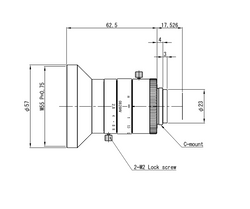 "VS Technology VS-0828HV 1.1"" 8mm F2.8 Manual Iris C-Mount Lens, 12 Megapixel Rated, For 3.45μm Pixel Size"
