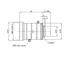 "VS Technology VS-1220HV 1.1"" 12mm F2.0 Manual Iris C-Mount Lens, 12 Megapixel Rated, For 3.45μm Pixel Size"