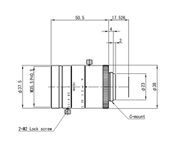 "VS Technology VS-1620HV 1.1"" 16mm F2.0 Manual Iris C-Mount Lens, 12 Megapixel Rated, For 3.45μm Pixel Size"