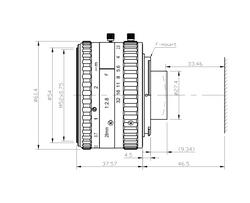 AZURE Photonics AZURE-2828MF-1 28mm F2.8 Manual Iris F-Mount Lens, 43mm Image Circle, 10 Megapixel Rated