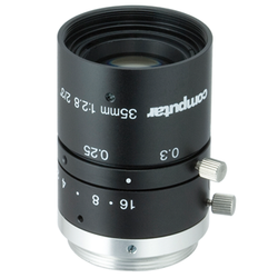 "Computar M3528-MPW3  2/3"" 35mm F2.8 Manual Iris C-Mount Lens, Ultra Low Distortion, 6 Megapixel Rated"