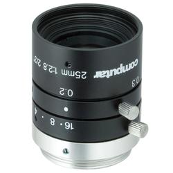 "Computar M2528-MPW3 2/3"" 25mm F2.8 Manual Iris C-Mount Lens, Ultra Low Distortion, 6 Megapixel Rated"