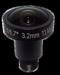 "FOCtek M12-3.2IR(12MP) 1/1.7"" 3.2mm F2.0 Fixed Iris M12 Mount (S-Mount) Lens, IR Corrected, 12 Megapixel Rated (4K)"