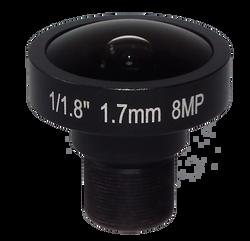 "FOCtek M12-1.7IR(8MP)-F1.7mm 1/1.8"" 1.7mm Fisheye Type F2.0 Fixed Iris M12 Mount (S-Mount) Lens, IR Corrected, 8 Megapixel Rated"