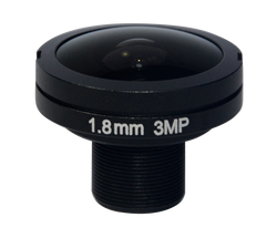 "FOCtek M12-1.8IR(3MP)-F1.8mm  1/1.8"" 1.8mm Fisheye Type F2.8 Fixed Iris M12 Mount (S-Mount) Lens, IR Corrected, 3 Megapixel Rated"