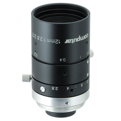 "Computar M1228-MPW3 2/3"" 12mm F2.8 Manual Iris C-Mount Lens, Ultra Low Distortion, 6 Megapixel Rated"