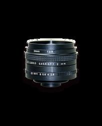 AZURE Photonics AZURE-2428MT 24mm F2.8 Manual Iris T-Mount (M42x1) Lens, 43mm Image Circle, 5 Megapixel Rated