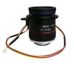 "FOCtek C-M35(12MP)-1F14-E 1.1"" 35mm Motorized Focus with F1.4 Manual Iris C-Mount Lens, 12 Megapixel Rated"