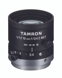 "Tamron M117FM12 1/1.7"" 12mm F2.4 Manual Iris C-Mount Lens, 6 Megapixel Rated"