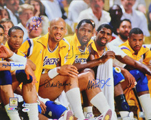 Showtime (5) Johnson, Jabbar, Worthy, Scott & Thompson Signed 16x20 Photo BAS 1
