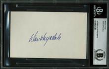 Dodgers Don Drysdale Authentic Signed 3x5 Index Card Autographed BAS Slabbed