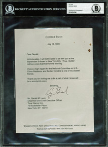 George H.W. Bush Signed 6.25x8.5 1999 Letter On Personal Stationary BAS Slabbed