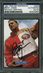 49ers Brent Jones Authentic Signed Card 1991 Proline Portraits PSA/DNA Slabbed
