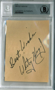 "Yankees Whitey Herzog ""Best Wishes"" Signed 2.5x3.5 Cut Signature BAS Slabbed"