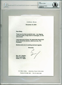 George H.W. Bush Signed 6.4x8.5 Letter Dated November 15, 2004 BAS Slabbed