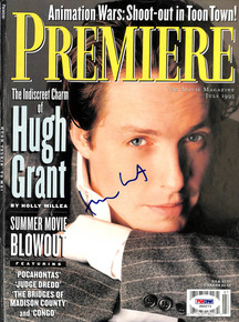Hugh Grant Authentic Signed 8x11 Premiere Magazine Cover PSA/DNA #J00273