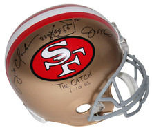 Joe Montana & Dwight Clark Signed F/S Rep Helmet W/ Hand Drawn Play BAS Witness