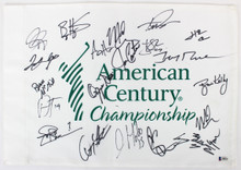 American Century (20) Goff, Peterson, Oshie, Rice Signed Pin Flag BAS #A88335