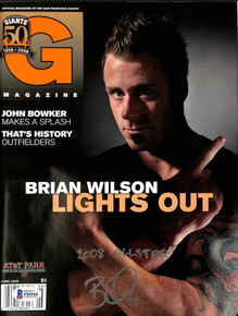 """GIants Brian Wilson """"2008 Allstar"""" Signed June 2008 Giants Magazine  BAS #F84560"""