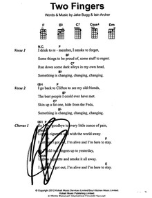 Jake Bugg Authentic Signed 8.5x11 Two Fingers Music Sheet Photo BAS #F99208