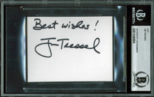 "Ohio State Jim Tressel ""Best Wishes"" Signed 3x4 Cut Signature BAS Slabbed 1"