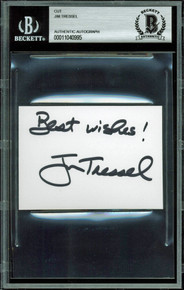 "Ohio State Jim Tressel ""Best Wishes"" Signed 2.5x3.5 Cut Signature BAS Slabbed"